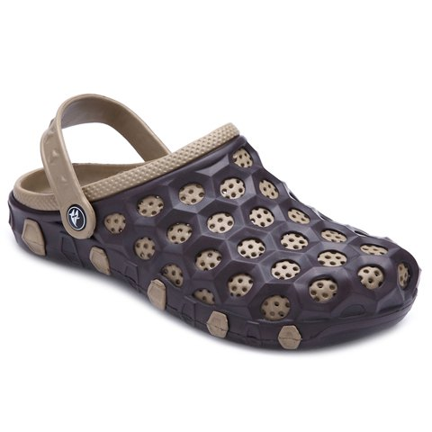 Concise Colour Block and Circle Pattern Design Men's Slippers - BROWN 42