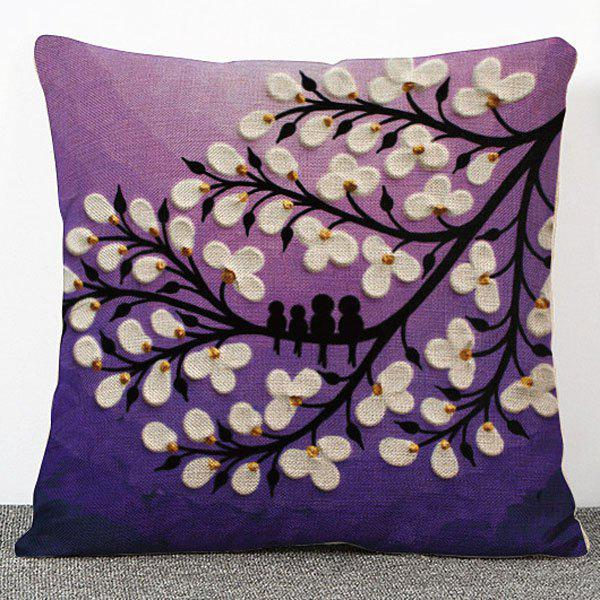 Fashionable 3D Oil Painting Flowers Pattern Flax Pillow Case(Without Pillow Inner)