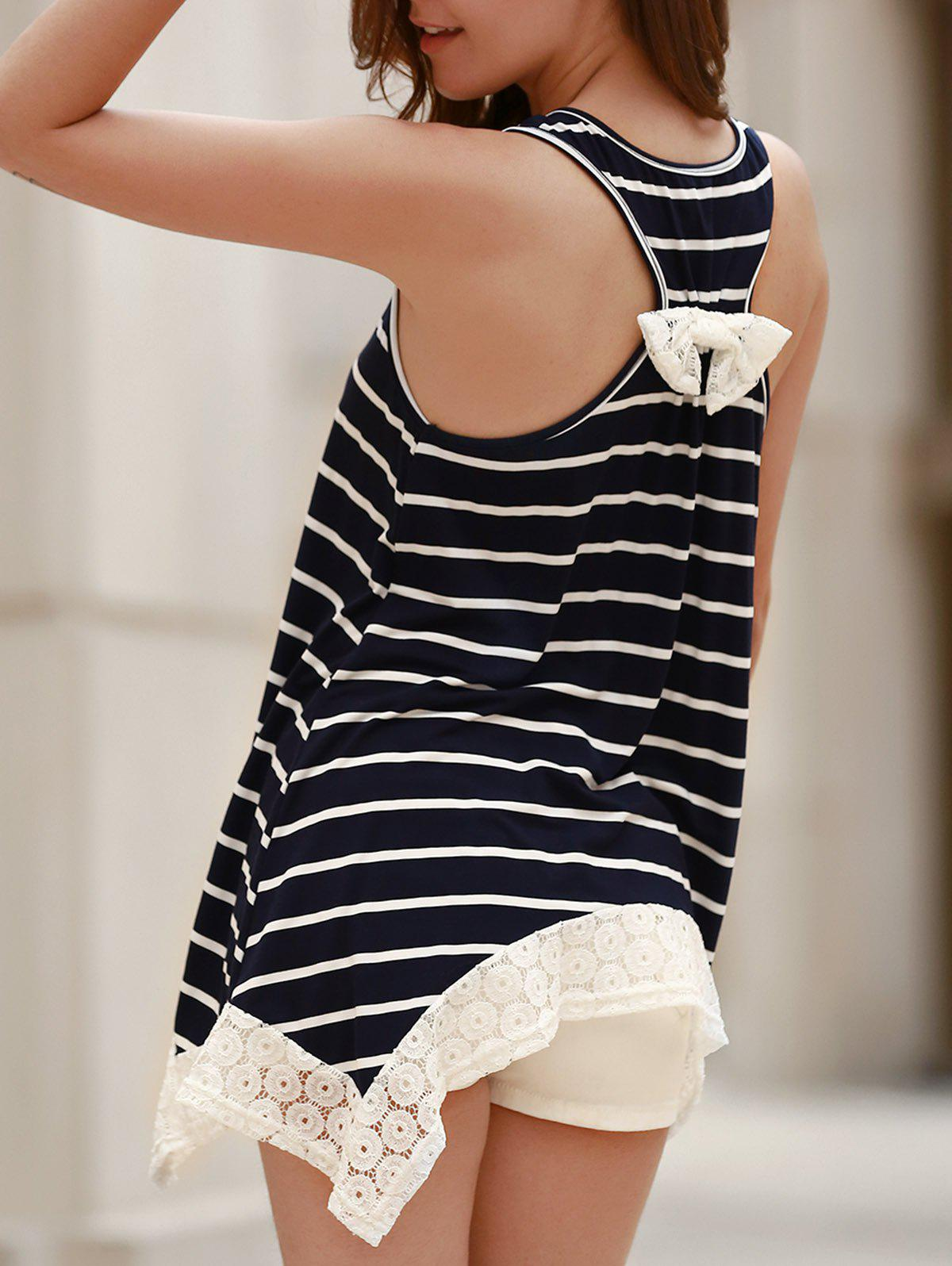 Chic Scoop Neck Sleeveless Bowknot Design Striped Women's Tank Top - CADETBLUE M