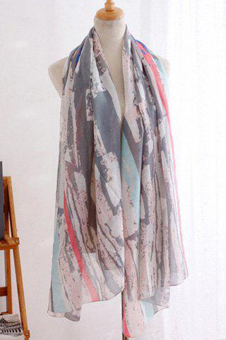 Chic Irregular Splash-Ink Stripe Pattern Women's Scarf - GRAY
