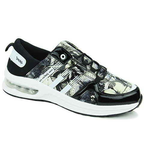 Stylish PU Leather and Printed Design Sneakers For Men - BLACK/GREY 42