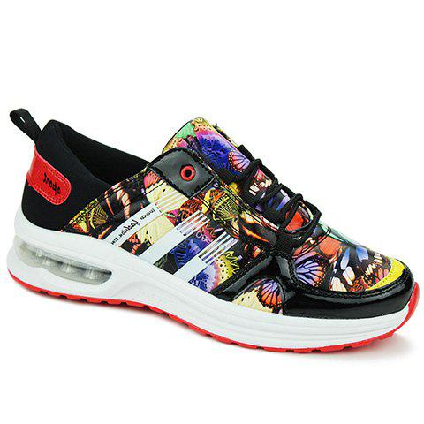 Stylish PU Leather and Printed Design Sneakers For Men - RED/BLACK 39