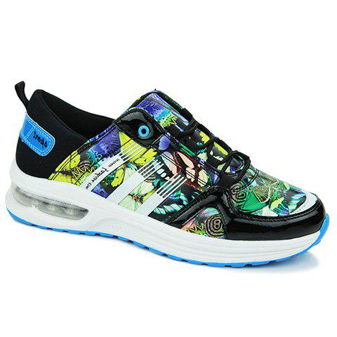 Stylish PU Leather and Printed Design Sneakers For Men - BLUE 40