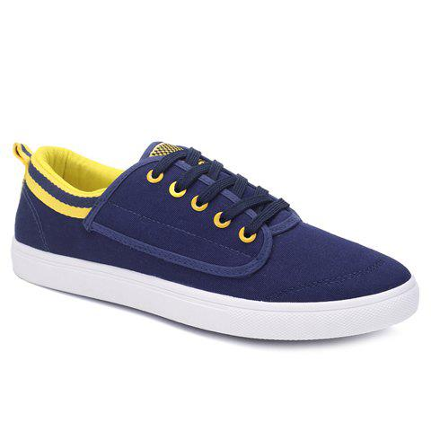 Simple Cloth and Colour Block Design Men's Casual Shoes - BLUE 40