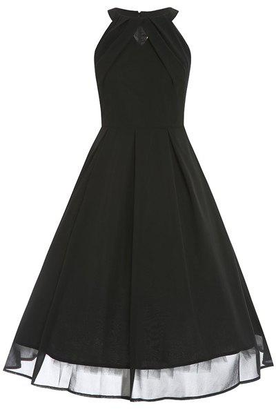 Elegant Women's Round Collar Black Voile Spliced Sleeveless Dress - S BLACK