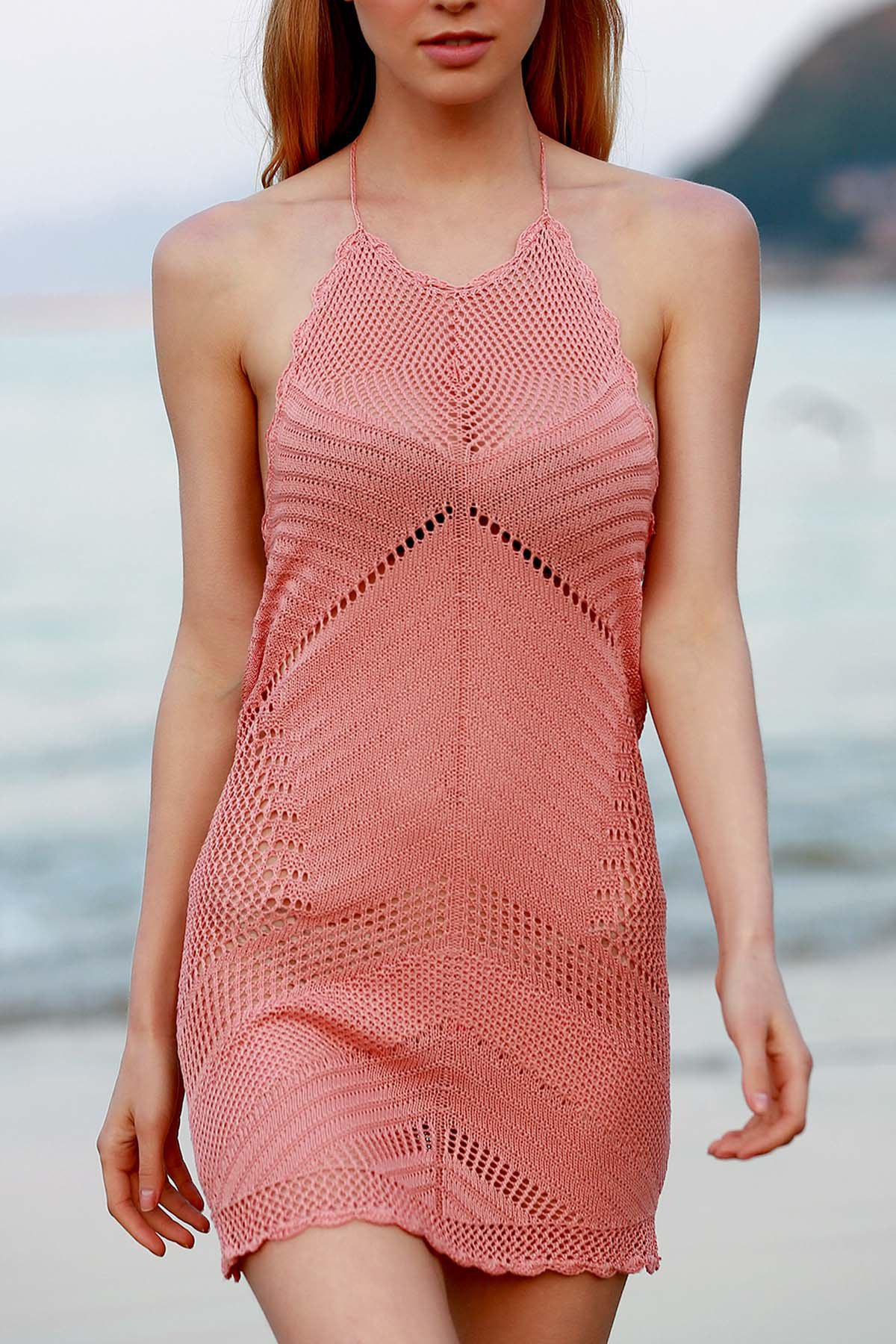 Stylish Halter Pink Crochet Women's Cover Up - PINK ONE SIZE(FIT SIZE XS TO M)
