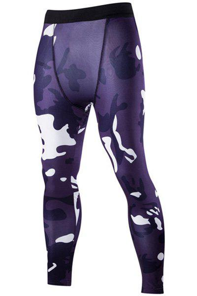 Camo Print Air Permeable Skintight Elastic Waist Men's Fitness Pants