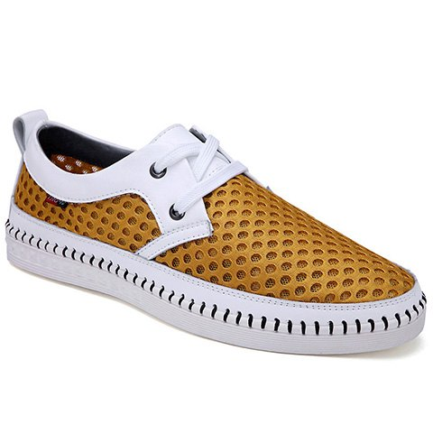 Simple Mesh and Lace-Up Design Casual Shoes For Men - YELLOW 42