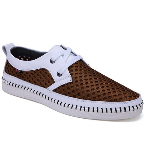 Simple Mesh and Lace-Up Design Casual Shoes For Men - BROWN 40