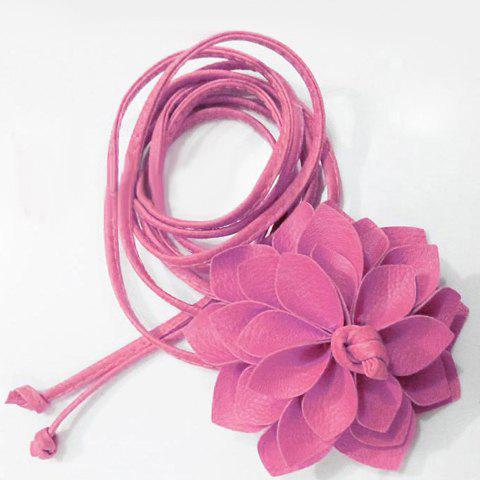 Chic Big Flower Shape Embellished Candy Color Women's Waist Rope - PINK