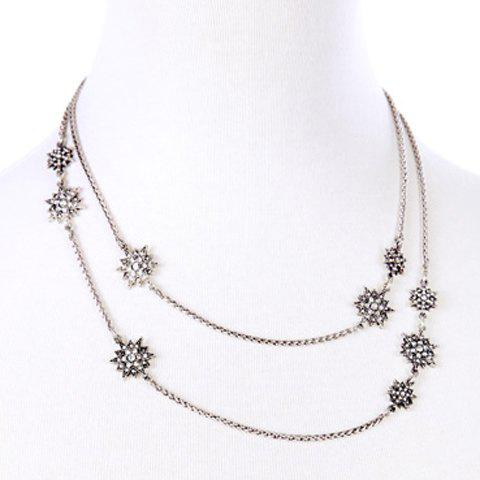 Trendy Floral Rhinestone Necklace For Women - SILVER