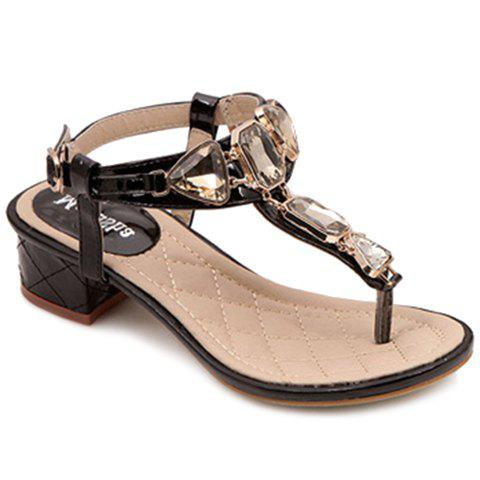 Trendy T-Strap and Rhinestone Design Women's Sandals - BLACK 38