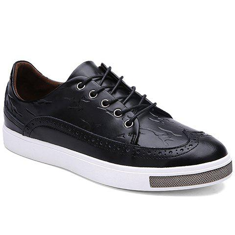 Simple Lace-Up and Engraving Design Casual Shoes For Men - 42 BLACK