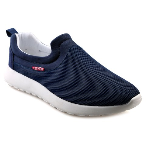 Simple Mesh and Solid Colour Design Men's Casual Shoes - BLUE 42