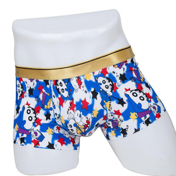 Elastic Waist Cartoon Figure Printed Comfortable Men's Boxer Brief - COLORMIX L