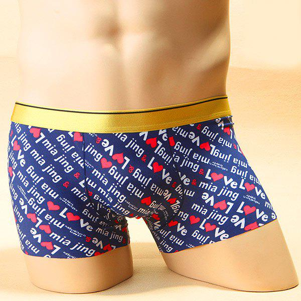 Elastic Waist Heart and Letter Printed Comfortable Boxer Brief For Men