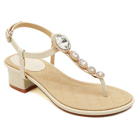 Trendy T-Strap and Rhinestones Design Women's Sandals