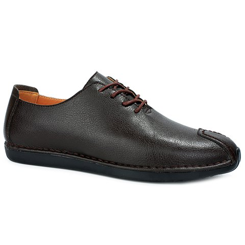 Stylish Solid Colour and Stitching Design Men's Casual Shoes - DEEP BROWN 41