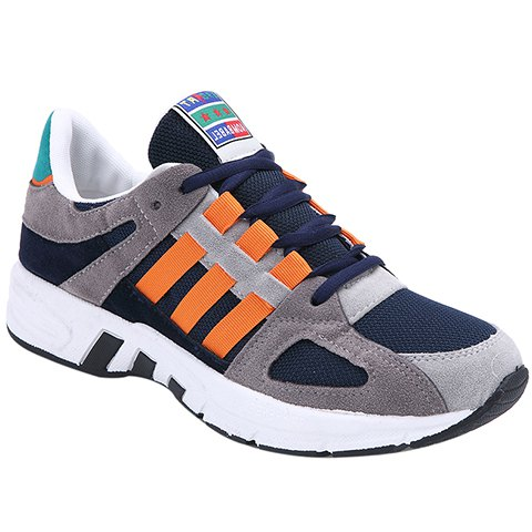 Fashion Color Block and Lace-Up Design Sneakers For Men - ORANGE 43