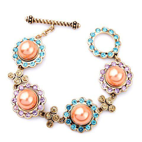 Chic Faux Pearl Rhinestone Colorful Bracelet For Women