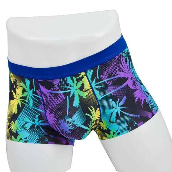 Elastic Waist Coconut Tree Printed Comfortable Men's Boxer Brief