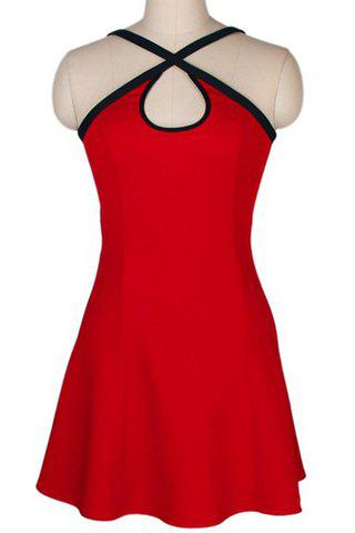 Trendy Spaghetti Strap Red Color Sleeveless Dress For Women - RED S