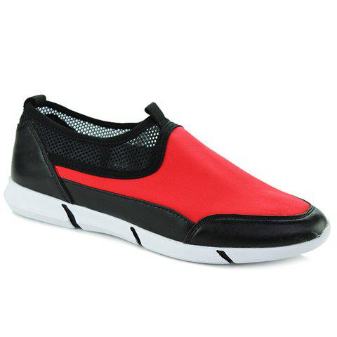 Stylish Colour Block and Splicing Design Men's Casual Shoes - RED 39