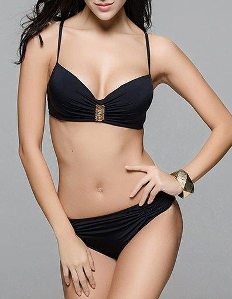 Stylish Solid Color Spaghetti Strap Women's Bikini Set - BLACK 3XL
