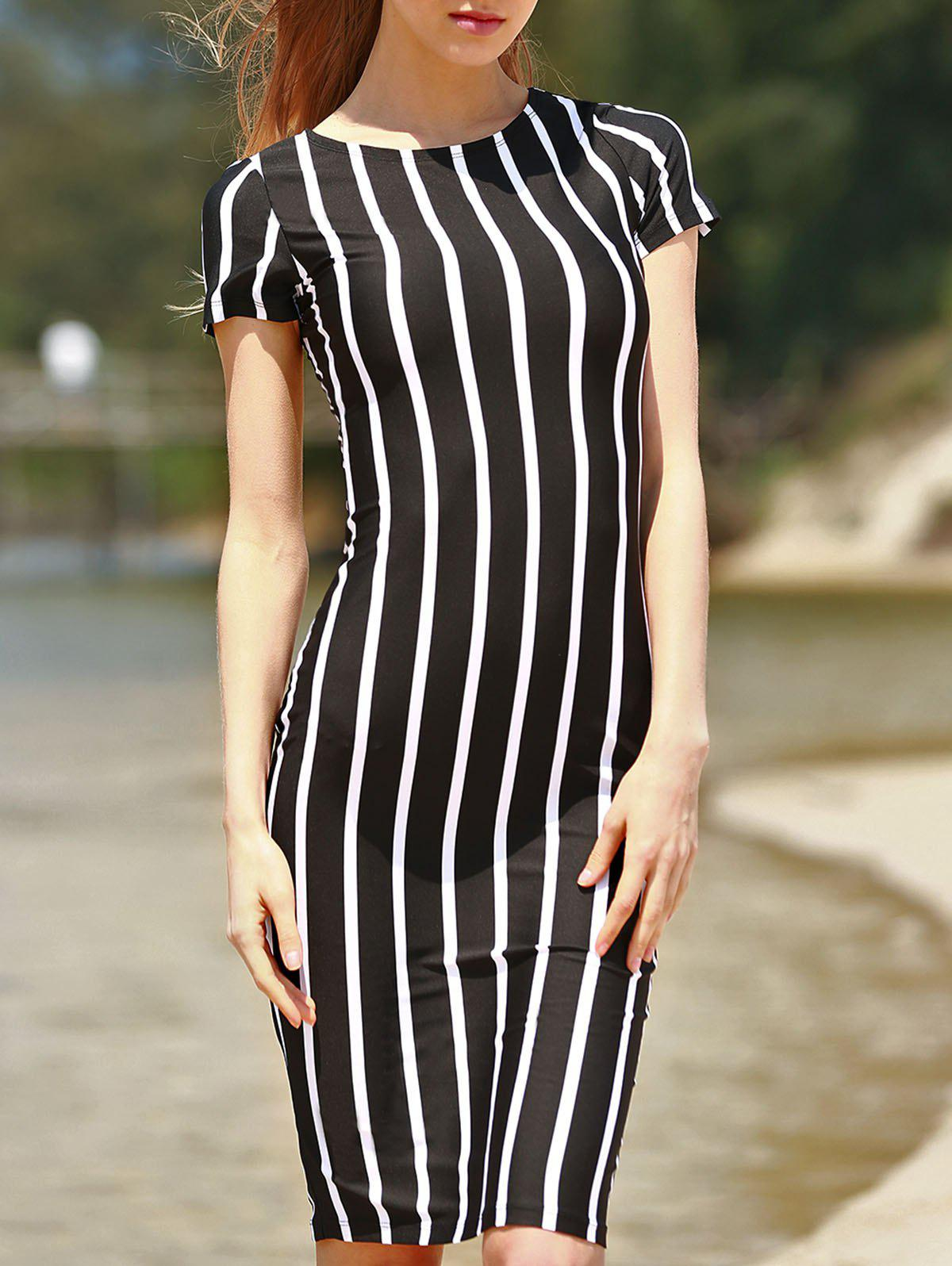 Stylish Round Neck Short Sleeve Striped Slimming Women's Dress - BLACK S