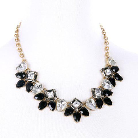Trendy Floral Faux Crystal Necklace For Women - GOLDEN