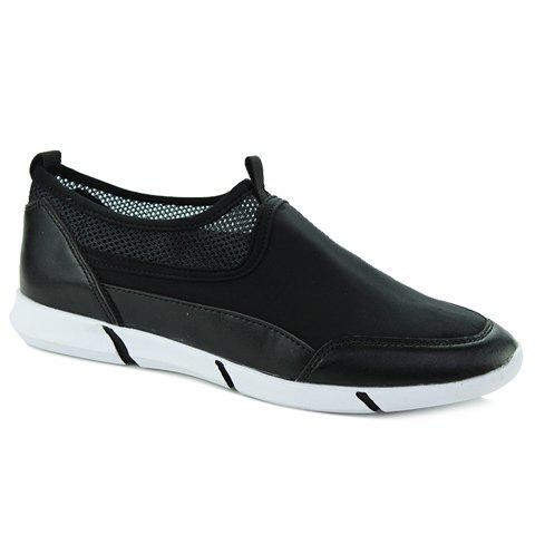 Fashionable Splicing and Black Color Design Men's Casual Shoes - BLACK 40