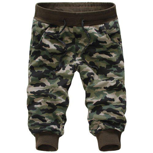 Casual Loose Fit Camo Print Beam Feet Lace-Up Men's Capri Pants - CAMOUFLAGE 2XL