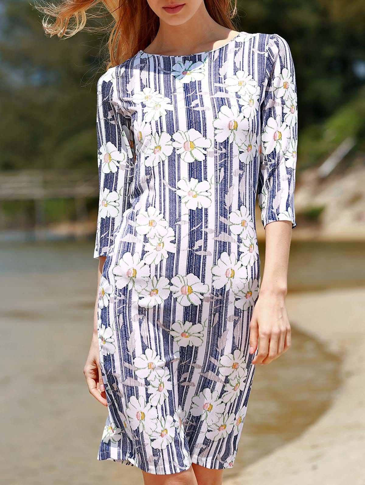 Stylish Round Neck 3/4 Sleeve Floral Print Bodycon Women's Dress - BLUE M