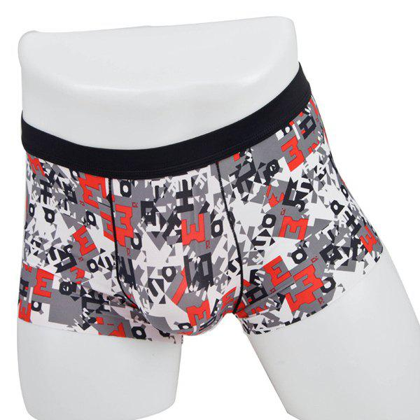 Elastic Waist Letter M Printed Comfortable Men's Boxer Brief - COLORMIX L
