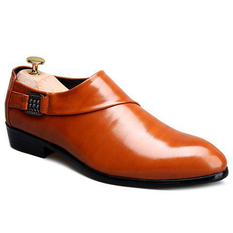 Trendy Elastic and Metal Design Men's Formal Shoes - ORANGE 38