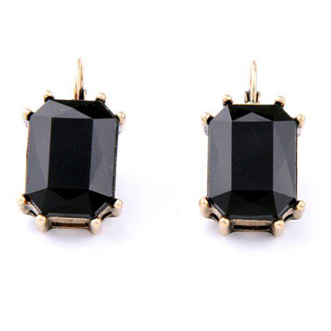 Pair of Faux Crystal Rectangle Earrings - BLACK