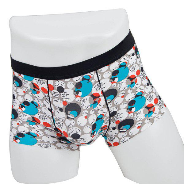 Elastic Waist Color Block Polka Dot Printed Comfortable Men's Boxer Brief - COLORMIX XL