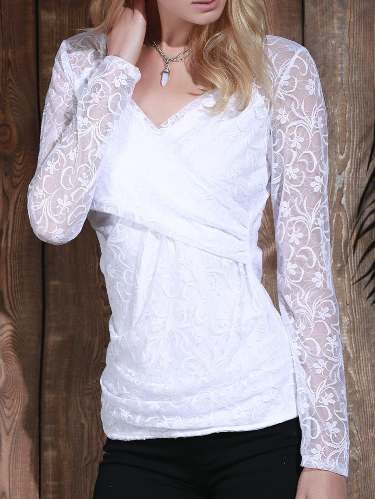 Long Sleeve Plunging Neck See-Through Lace Women's T-Shirt - S WHITE