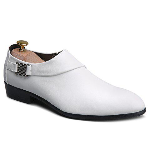 Stylish Metal and Solid Colour Design Men's Formal Shoes - WHITE 39