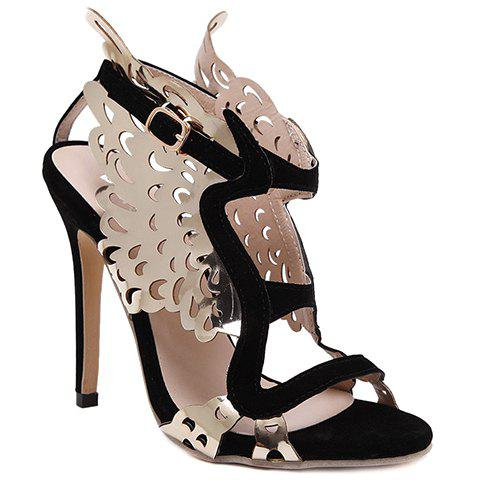 Party Wings and Color Block Design Women's Sandals - BLACK 37