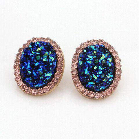 Pair of Diamante Oval Stud Earrings - AS THE PICTURE