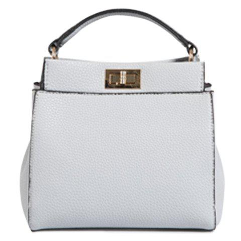 Elegant Solid Colour and PU Leather Design Tote Bag For Women - GRAY