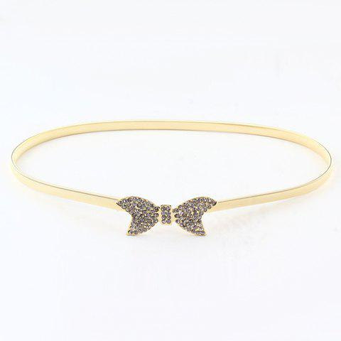 Chic Rhinestone Inlay Butterfly Shape Metal Women's Elastic Waist Belt - GOLDEN