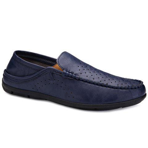 Simple Solid Color and Stitching Design Men's Casual Shoes - BLUE 42