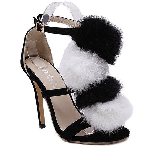 Stylish Faux Fur and Stiletto Heel Design Women's Sandals