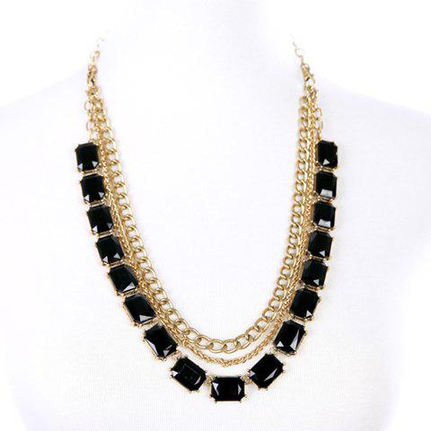 Faux Crystal Rectangle Multilayered Necklace - BLACK
