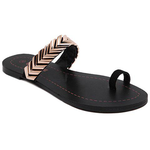 Trendy Toe Ring and Metal Design Women's Slippers - BLACK 39