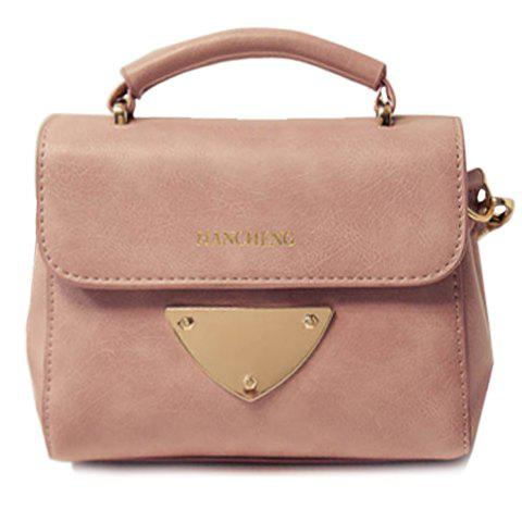 Simple PU Leather and Metal Design Crossbody Bag For Women - PINK