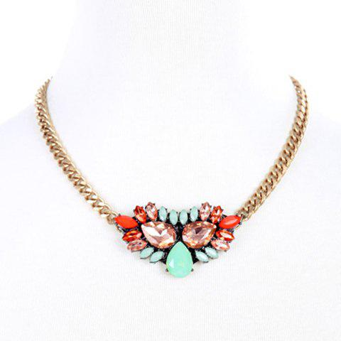 Trendy Water Drop Faux Crystal Chunky Necklace For Women