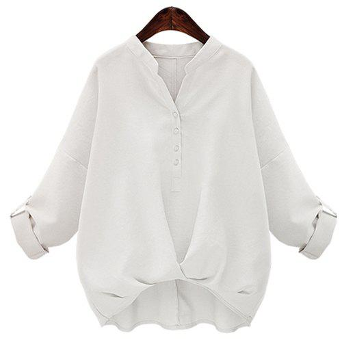 Fashionable V-Neck Long Sleeves Buttoned Pure Color Women's Blouse - WHITE S